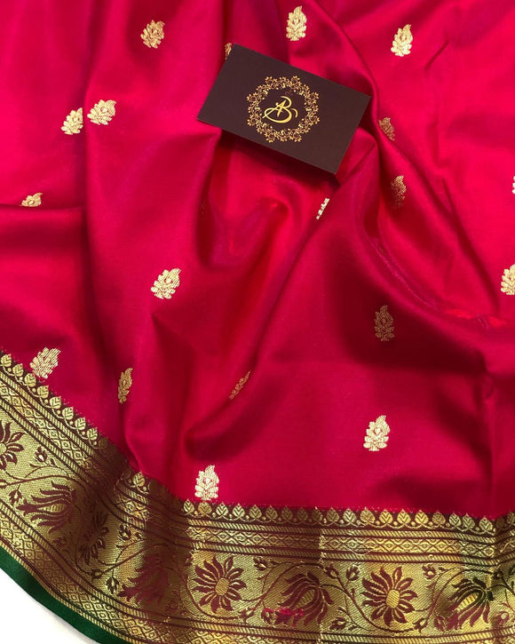HOT PINK BANARASI HANDLOOM SOFT SILK SAREE