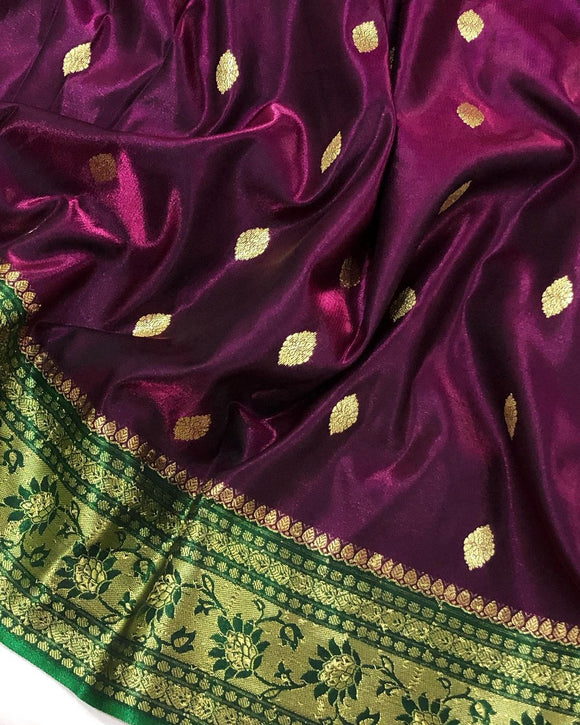 WINE BANARASI HANDLOOM SOFT SILK SAREE