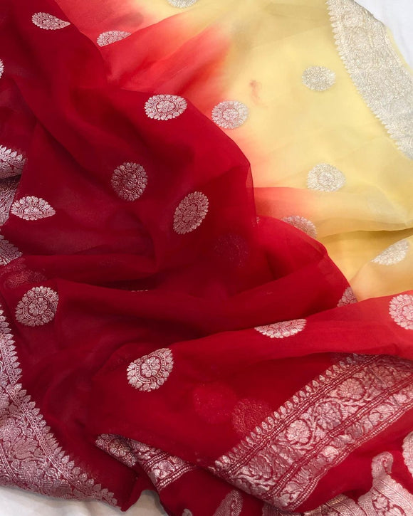SHADED BANARASI HANDLOOM PURE KHADDI CHIFFON GEORGETTE SILK SAREE