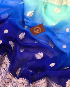 BLUE SHADED BANARASI HANDLOOM PURE KHADDI CHIFFON GEORGETTE SILK SAREE