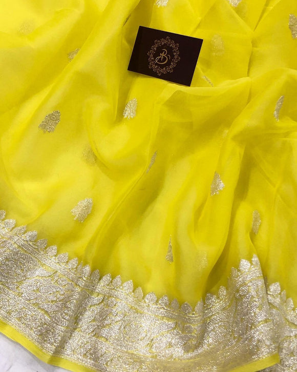LEMON YELLOW BANARASI HANDLOOM PURE KHADDI CHIFFON GEORGETTE SILK SAREE