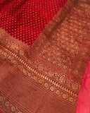 RED BANARASI HANDLOOM PURE KHADDI GEORGETTE SILK SAREE WITH 17 INCHES BROAD BORDER