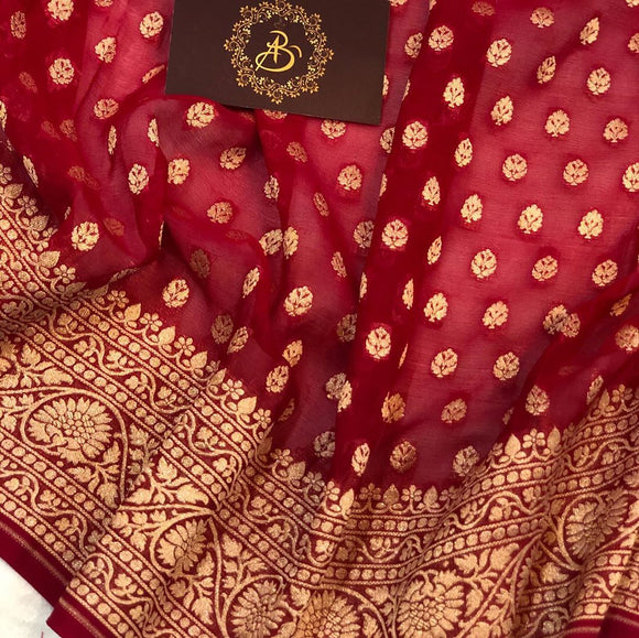 Red Khaddi Chiffon Georgette Silk Banarasi Handloom Saree