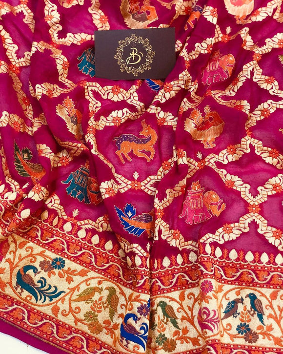 PINK BANARASI HANDLOOM PURE KHADDI GEORGETTE SILK SAREE WITH TILFI PATOLA WORK