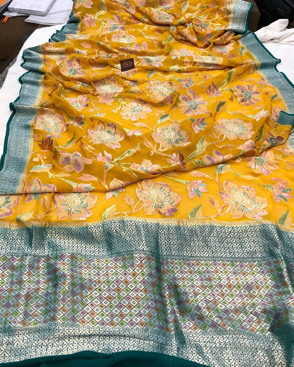 MUSTARD YELLOW BANARASI HANDLOOM PURE KHADDI GEORGETTE SILK SAREE