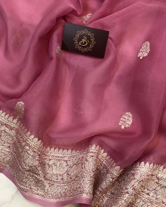 ROSE GOLD (ONION SHADE) BANARASI HANDLOOM PURE KHADDI CHIFFON GEORGETTE SILK SAREE