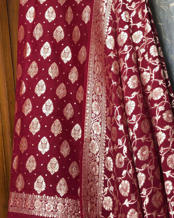 DEEP MAROON KHADDI GEORGETTE SILK BANARASI HANDLOOM TWO PIECE SUIT SET