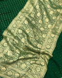 BOTTLE GREEN BANARASI HANDLOOM PURE KHADDI GEORGETTE SILK SAREE