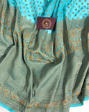 BLUE BANARASI HANDLOOM PURE KHADDI GEORGETTE SILK SAREE WITH 17 INCHES BROAD BORDER