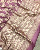 ONION SHADE BANARASI HANDLOOM PURE KHADDI GEORGETTE SILK SAREE