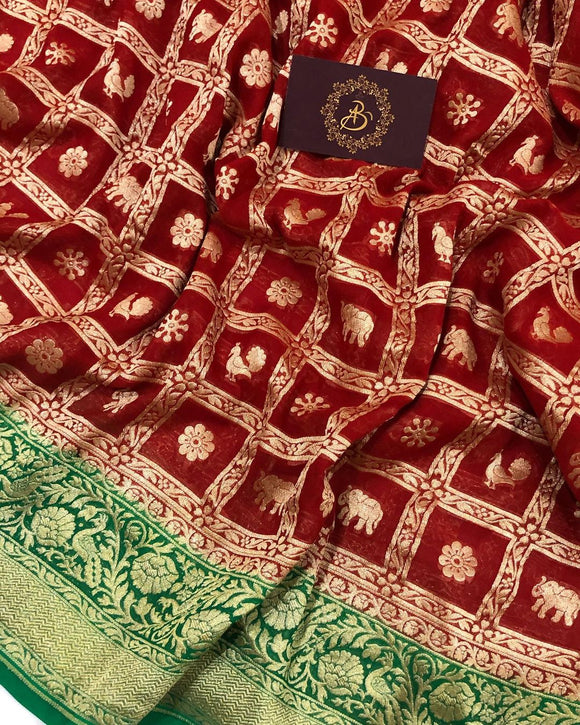 Red Khaddi Georgette Silk Banarasi Handloom Saree