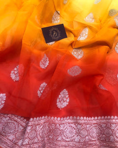 ORANGE YELLOW SHADED BANARASI HANDLOOM PURE KHADDI CHIFFON GEORGETTE SILK SAREE