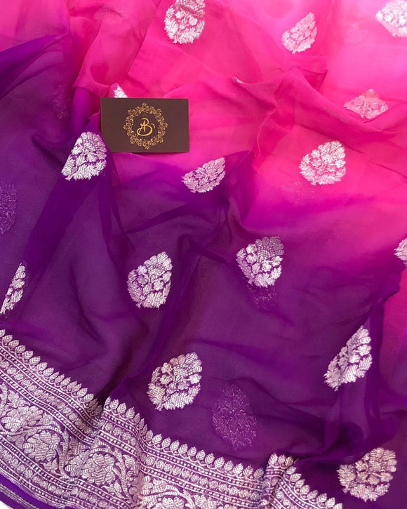 PURPLE PINK SHADED BANARASI HANDLOOM PURE KHADDI CHIFFON GEORGETTE SILK SAREE