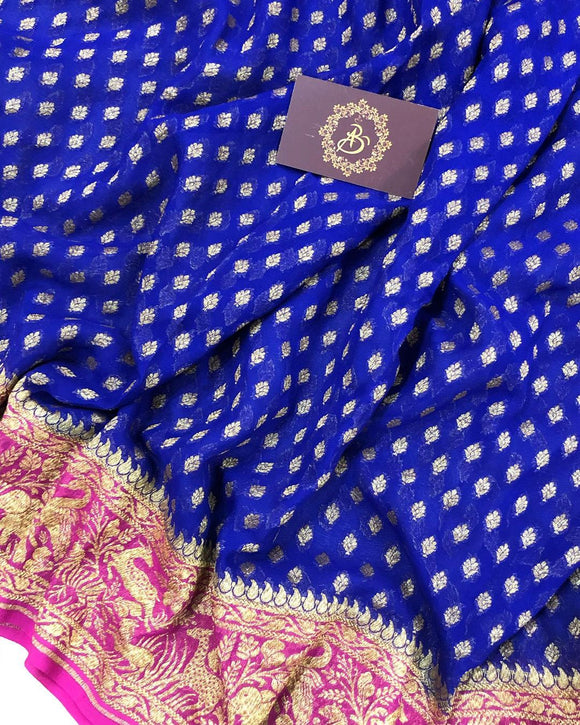 DEEP BLUE BANARASI HANDLOOM PURE KHADDI GEORGETTE SILK SAREE