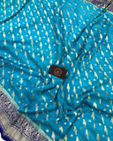 SKY BLUE BANARASI HANDLOOM PURE KHADDI GEORGETTE SILK SAREE
