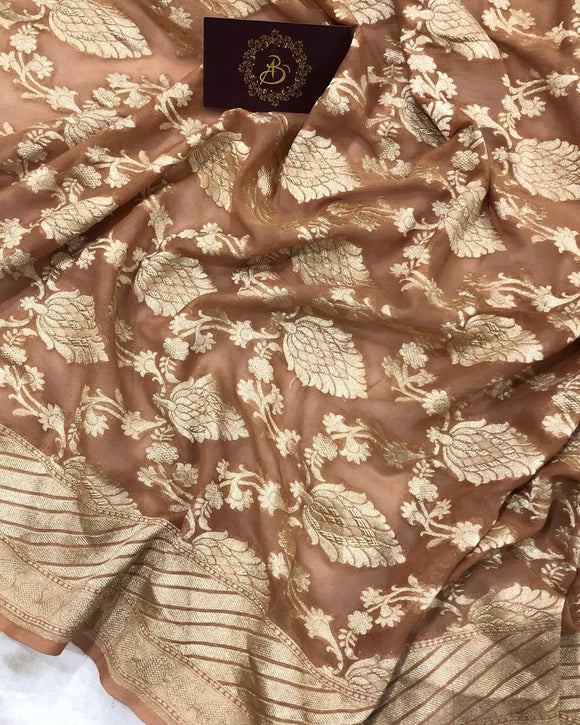 BROWN BANARASI HANDLOOM PURE KHADDI GEORGETTE SILK SAREE
