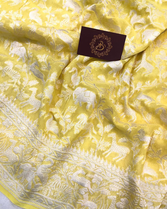 Lemon Yellow Khaddi Chiffon Georgette Banarasi Handloom Saree