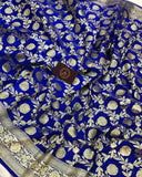 ROYAL BLUE BANARASI HANDLOOM SATIN SILK SAREE (ALL OVER JAAL WORK)