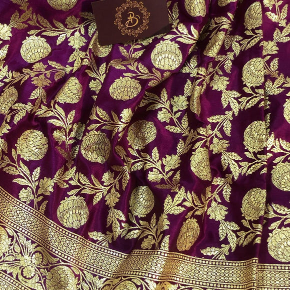 PURPLE BANARASI HANDLOOM SATIN SILK SAREE (ALL OVER JAAL WORK)