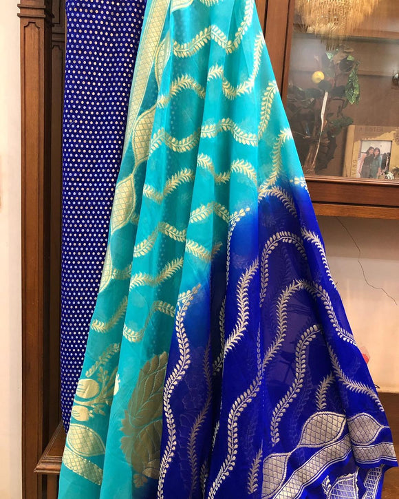 DEEP BLUE KHADDI GEORGETTE SILK BANARASI HANDLOOM THREE PIECE SUIT SET