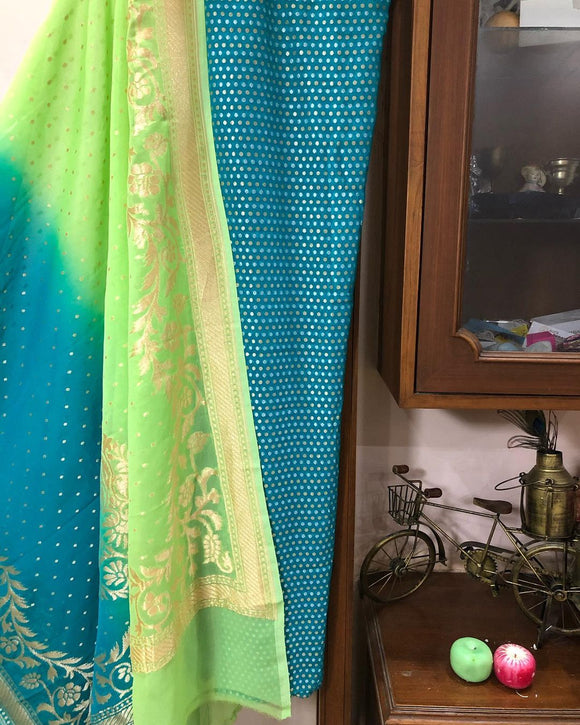 TEAL BLUE KHADDI GEORGETTE BANARASI HANDLOOM THREE PIECE SUIT SET