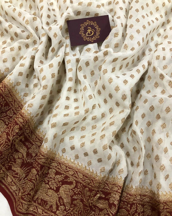 OFF WHITE BANARASI HANDLOOM PURE KHADDI GEORGETTE SILK SAREE