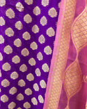 PURPLE PINK KHADDI GEORGETTE SILK BANARASI HANDLOOM THREE PIECE SUIT SET