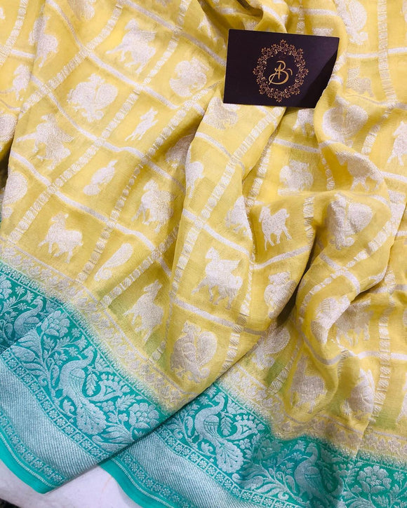 LEMON YELLOW BANARASI HANDLOOM PURE KHADDI GEORGETTE SILK SAREE