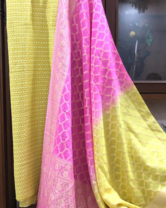 LEMON YELLOW KHADDI GEORGETTE SILK BANARASI HANDLOOM THREE PIECE SUIT SET