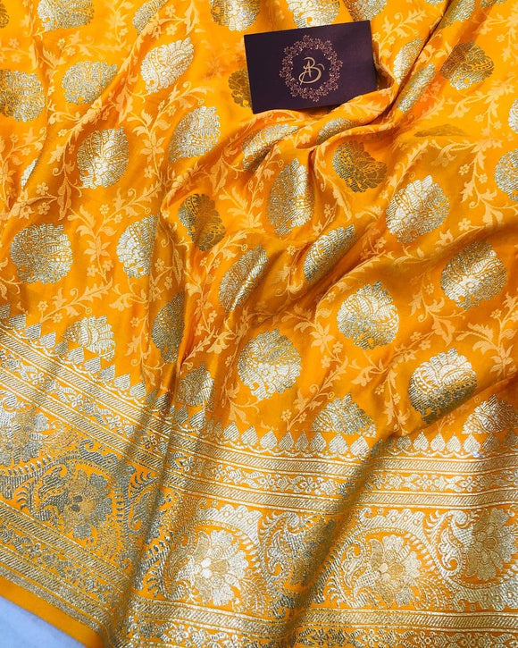 YELLOW BANARASI HANDLOOM SATIN TANCHUI SILK SAREE (ALLOVER BOOTA WORK)