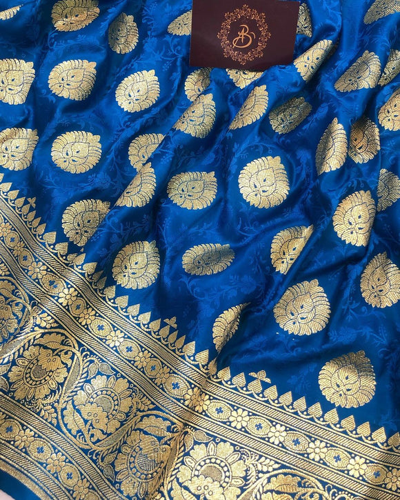 PERSIAN BLUE BANARASI HANDLOOM SATIN TANCHUI SILK SAREE (ALLOVER BOOTA WORK)