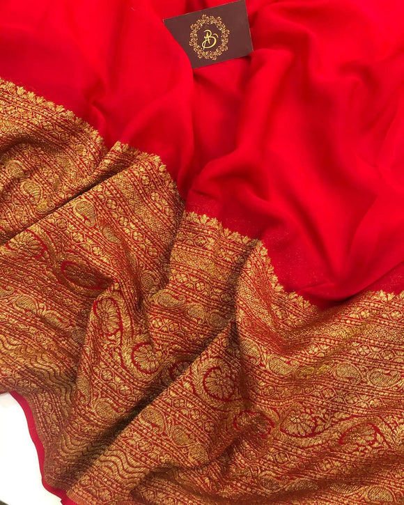 RED BANARASI HANDLOOM PURE KHADDI GEORGETTE SILK SAREE WITH 14 INCHES BROAD BORDER