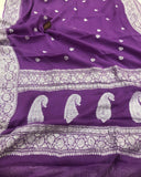 PURPLE BANARASI HANDLOOM PURE KHADDI CHIFFON GEORGETTE SILK SAREE