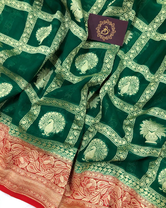 GREEN BANARASI HANDLOOM PURE KHADDI GEORGETTE SILK SAREE