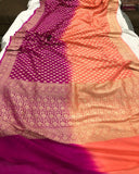 Orange Pink Shaded Khaddi Chiffon Georgette Silk Banarasi Handloom Saree
