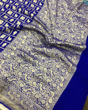 Royal Blue Khaddi Georgette Silk Banarasi Handloom Saree