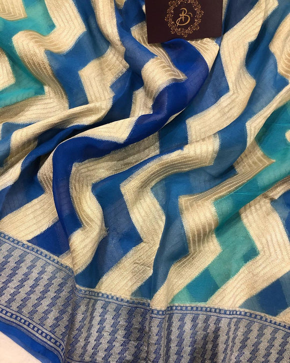 BLUE SHADED BANARASI HANDLOOM PURE KHADDI GEORGETTE SILK SAREE