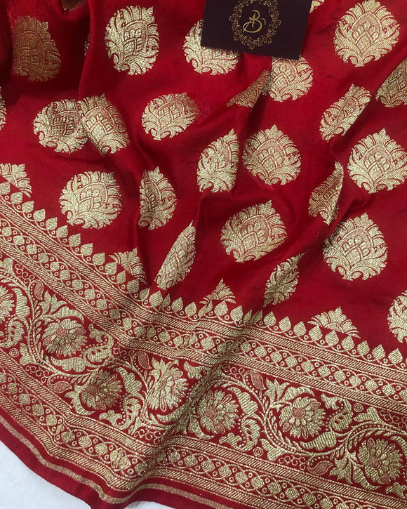 RED BANARASI HANDLOOM SATIN SILK SAREE (ALLOVER BOOTA WORK)