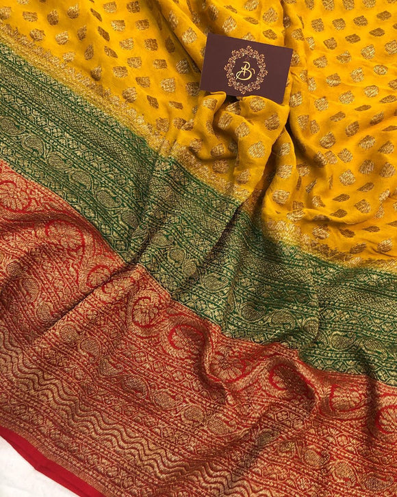 YELLOW BANARASI HANDLOOM PURE KHADDI GEORGETTE SILK SAREE WITH 14 INCHES BROAD BORDER
