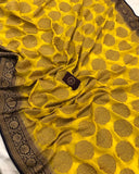 YELLOW BANARASI HANDLOOM PURE KHADDI GEORGETTE SILK SAREE
