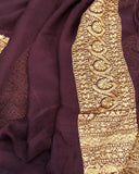 COFFEE BROWN BANARASI HANDLOOM PURE KHADDI GEORGETTE SILK SAREE WITH 14 INCHES BROAD BORDER