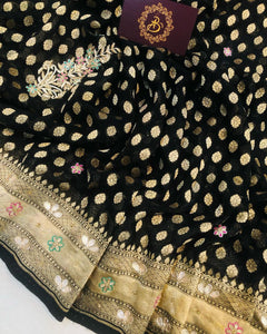 BLACK BANARASI HANDLOOM PURE KHADDI GEORGETTE SILK SAREE WITH ZARDOZI WORK