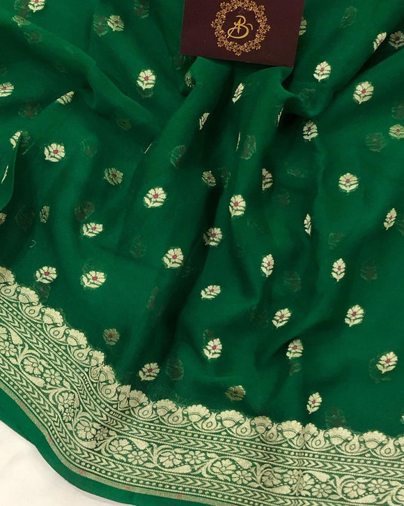 BOTTLE GREEN PURE BANARASI KHADDI GEORGETTE SILK SAREE