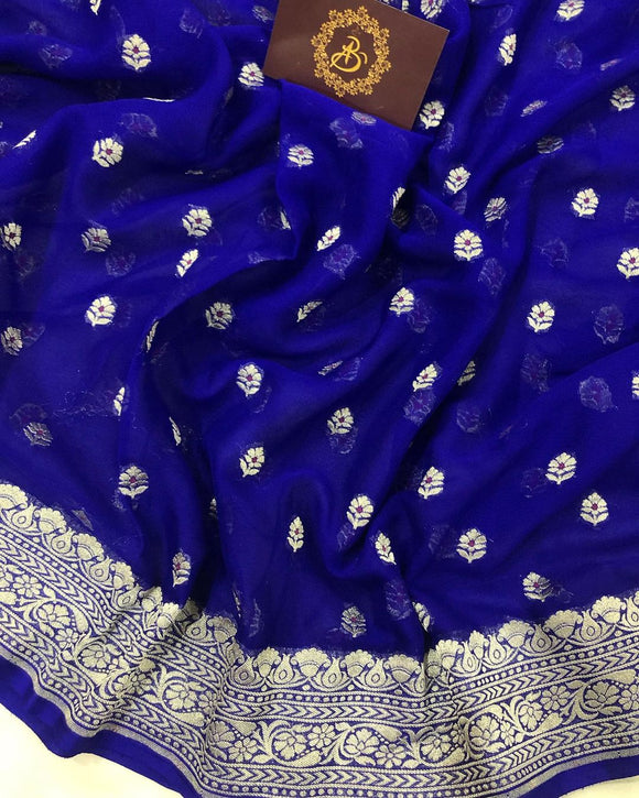 ROYAL BLUE PURE BANARASI KHADDI GEORGETTE SILK SAREE