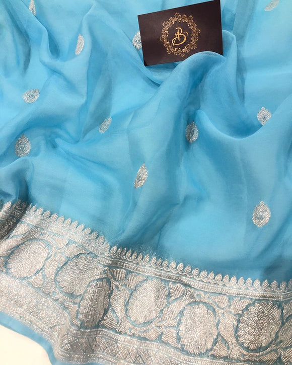 POWDER BLUE BANARASI HANDLOOM PURE KHADDI CHIFFON GEORGETTE SILK SAREE