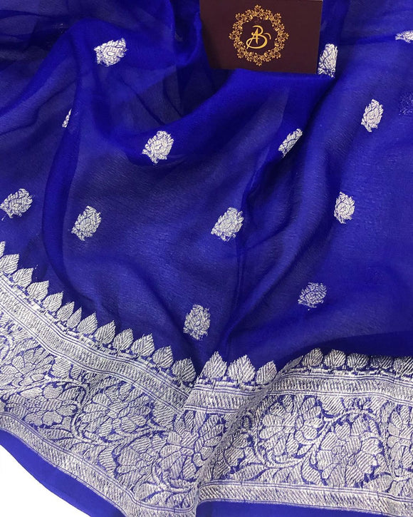 ROYAL BLUE BANARASI HANDLOOM PURE KHADDI CHIFFON GEORGETTE SILK SAREE