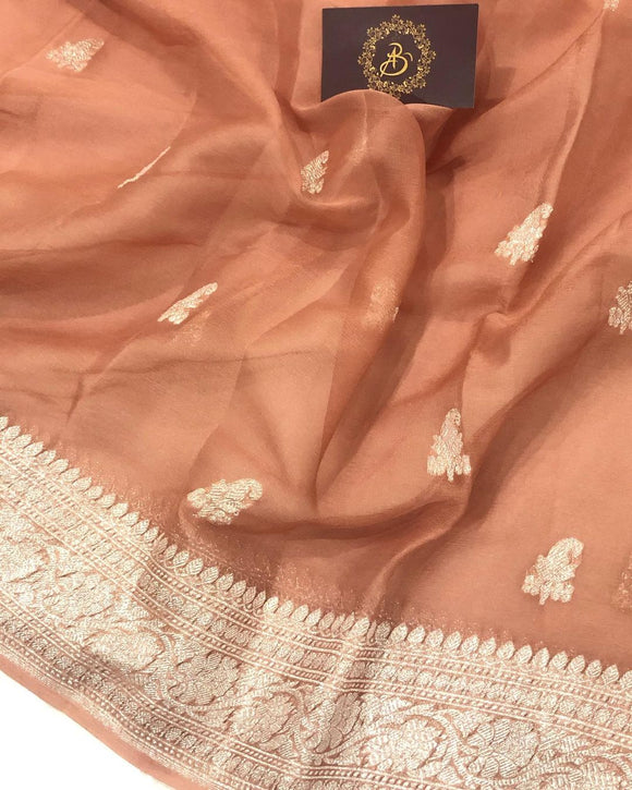 INVENTIVE ORANGE BANARASI HANDLOOM PURE KHADDI CHIFFON GEORGETTE SILK SAREE
