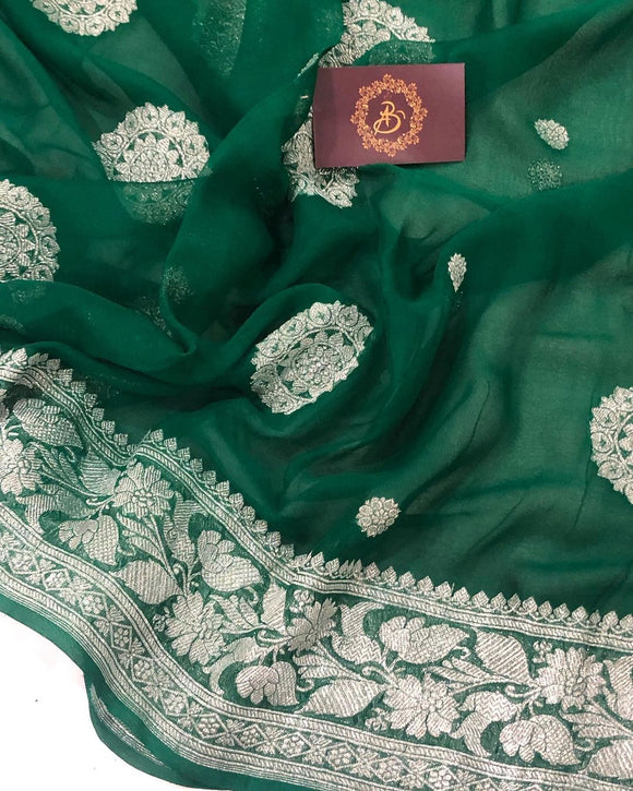 BOTTLE GREEN BANARASI HANDLOOM PURE KHADDI CHIFFON GEORGETTE SILK SAREE