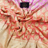 ORANGE PINK SHADED BANARASI HANDLOOM PURE KHADDI GEORGETTE SILK SAREE WITH ZARDOZI WORK