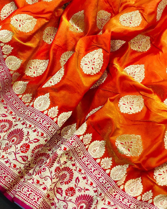 ORANGE BANARASI HANDLOOM SATIN SILK SAREE CONTRAST PINK BORDER & BLOUSE